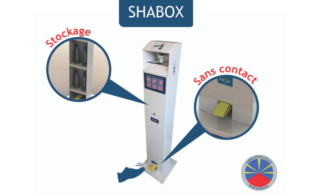 SHABOX : Le distributeur de gel et solution hydroalcoolique sans contact 100% local